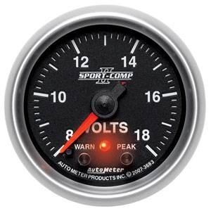 "2-1/16"" Gauges - Auto Meter Sport-Comp II Series - Autometer - Auto Meter Sport-Comp II Series, Voltmeter 8-18 Volts (Full Sweep Electric) w/ Warning"