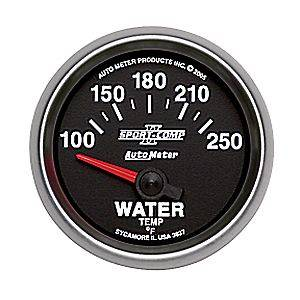 "2-1/16"" Gauges - Auto Meter Sport-Comp II Series - Autometer - Auto Meter Sport-Comp II Series, Water Temperature 100*-250*F (Short Sweep Electric)"
