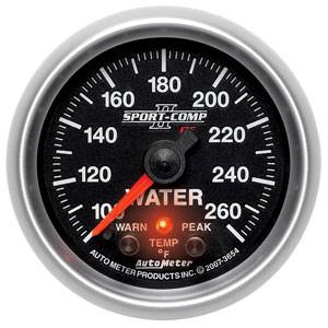 "2-1/16"" Gauges - Auto Meter Sport-Comp II Series - Autometer - Auto Meter Sport-Comp II Series, Water Temperature 100*-260*F (Full Sweep Electric) w/ Warning"