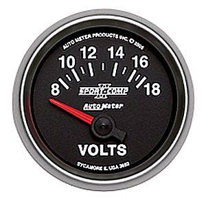 "2-1/16"" Gauges - Auto Meter Sport-Comp II Series - Autometer - Auto Meter Sport-Comp II Series, Voltmeter 8-18 Volts (Short Sweep Electric)"