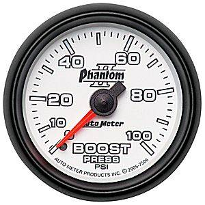 "2-1/16"" Gauges - Auto Meter Phantom II Series - Autometer - Auto Meter Phantom II Series, Boost Pressure 0-100psi (Mechanical)"