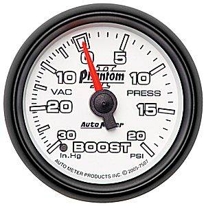 "2-1/16"" Gauges - Auto Meter Phantom II Series - Autometer - Auto Meter Phantom II Series, Boost/Vacuum Pressure 30"" HG/20psi (Mechanical)"