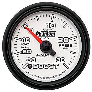 "2-1/16"" Gauges - Auto Meter Phantom II Series - Autometer - Auto Meter Phantom II Series, Boost/Vacuum Pressure 30"" HG/30psi (Full Sweep Electric)"