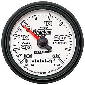 "2-1/16"" Gauges - Auto Meter Phantom II Series - Autometer - Auto Meter Phantom II Series, Boost/Vacuum Pressure 30"" HG/30psi (Mechanical)"