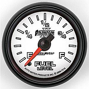 "2-1/16"" Gauges - Auto Meter Phantom II Series - Autometer - Auto Meter Phantom II Series, Fuel Level Programmable (Full Sweep Electric)"