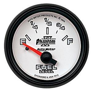 "2-1/16"" Gauges - Auto Meter Phantom II Series - Autometer - Auto Meter Phantom II Series, Fuel Level (Short Sweep Electric) GM"