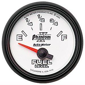 "2-1/16"" Gauges - Auto Meter Phantom II Series - Autometer - Auto Meter Phantom II Series, Fuel Level 240-33 ohms (Short Sweep Electric)"