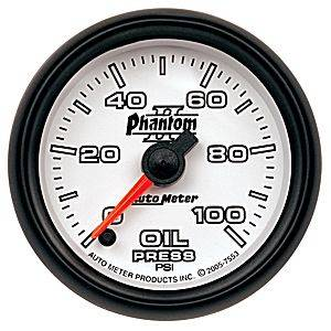 "2-1/16"" Gauges - Auto Meter Phantom II Series - Autometer - Auto Meter Phantom II Series, Oil Pressure 0-100psi (Full Sweep Electric)"