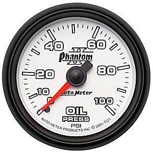 "2-1/16"" Gauges - Auto Meter Phantom II Series - Autometer - Auto Meter Phantom II Series, Oil Pressure 0-100psi (Mechanical)"