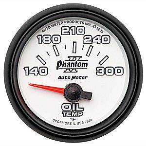 "2-1/16"" Gauges - Auto Meter Phantom II Series - Autometer - Auto Meter Phantom II Series, Oil Temperature 140*-300*F (Short Sweep Electric)"