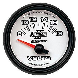 "2-1/16"" Gauges - Auto Meter Phantom II Series - Autometer - Auto Meter Phantom II Series, Voltmeter 8-18Volts (Short Sweep Electric)"
