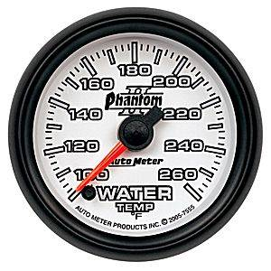 "2-1/16"" Gauges - Auto Meter Phantom II Series - Autometer - Auto Meter Phantom II Series, Water Temperature 100*-260*F (Full Sweep Electric)"