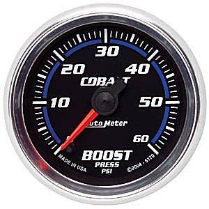 "2-1/16"" Gauges - Auto Meter Cobalt Series - Autometer - Auto Meter Cobalt Series, Boost Pressure 0-60psi (Full Sweep Electric)"