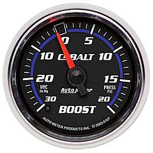 "2-1/16"" Gauges - Auto Meter Cobalt Series - Autometer - Auto Meter Cobalt Series, Boost/Vacuum Pressure 30""HG/20psi (Mechanical)"
