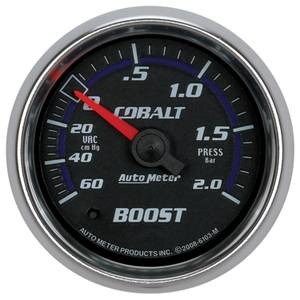 "2-1/16"" Gauges - Auto Meter Cobalt Series - Autometer - Auto Meter Cobalt Series, Boost/Vacuum 60CM. HG/2.0BAR (Mechanical)"
