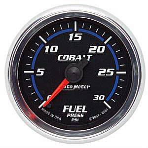"2-1/16"" Gauges - Auto Meter Cobalt Series - Autometer - Auto Meter Cobalt Series, Fuel Pressure 0-30psi (Full Sweep Electric)"