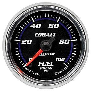 "2-1/16"" Gauges - Auto Meter Cobalt Series - Autometer - Auto Meter Cobalt Series, Fuel Pressure 0-100psi (Full Sweep Electric)"