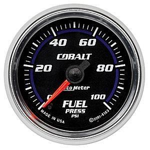 "2-1/16"" Gauges - Auto Meter Cobalt Series - Autometer - Auto Meter Cobalt Series, Fuel Pressure 0-100psi (Full Sweep Electric)"