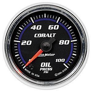 "2-1/16"" Gauges - Auto Meter Cobalt Series - Autometer - Auto Meter Cobalt Series, Oil Pressure 0-100psi (Full Sweep Electric)"
