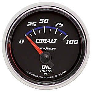 "2-1/16"" Gauges - Auto Meter Cobalt Series - Autometer - Auto Meter Cobalt Series, Oil Pressure 0-100psi (Short Sweep Electric)"