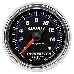 "2-1/16"" Gauges - Auto Meter Cobalt Series - Autometer - Auto Meter Cobalt Series, Pyrometer Kit 0*-1600*F (Full Sweep Electric)"