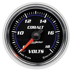 "2-1/16"" Gauges - Auto Meter Cobalt Series - Autometer - Auto Meter Cobalt Series, Voltmeter 8-18volts (Full Sweep Electric)"