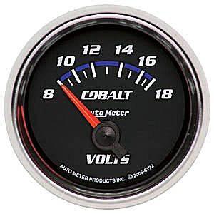"2-1/16"" Gauges - Auto Meter Cobalt Series - Autometer - Auto Meter Cobalt Series, Voltmeter 8-18volts (Short Sweep Electric)"