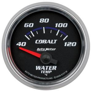 "2-1/16"" Gauges - Auto Meter Cobalt Series - Autometer - Auto Meter Cobalt Series, Water Temperature 40*-120*C (Short Sweep Electric)"