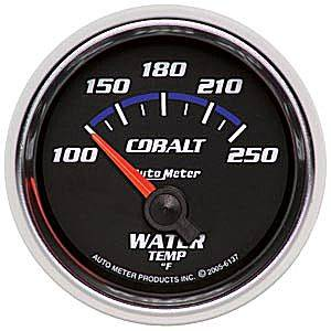 "2-1/16"" Gauges - Auto Meter Cobalt Series - Autometer - Auto Meter Cobalt Series, Water Temperature 100*-250*F (Short Sweep Electric)"