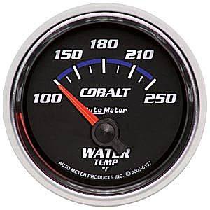 "2-1/16"" Gauges - Auto Meter Cobalt Series - Autometer - Auto Meter Cobalt Series, Water Temperature 100*-250*F (Short Sweep Electric)"