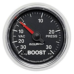 "2-1/16"" Gauges - Auto Meter GS Series - Autometer - Auto Meter GS Series, Boost/Vacuum Pressure 30"" HG/30psi (Mechanical)"