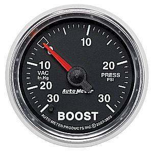 "2-1/16"" Gauges - Auto Meter GS Series - Autometer - Auto Meter GS Series, Boost/Vacuum Pressure 30"" HG/30psi (Full Sweep Electric)"