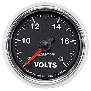 "2-1/16"" Gauges - Auto Meter GS Series - Autometer - Auto Meter GS Series, Voltmeter 8-18volts (Full Sweep Electric)"