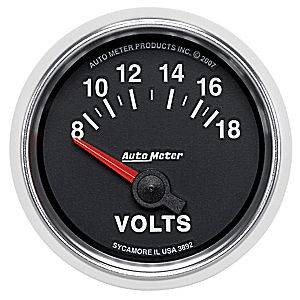 "2-1/16"" Gauges - Auto Meter GS Series - Autometer - Auto Meter GS Series, Voltmeter 8-18volts (Short Sweep Electric)"