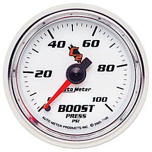 "2-1/16"" Gauges - Auto Meter C2 Series - Autometer - Auto Meter C2 Series, Boost Pressure 0-100psi (Mechanical)"