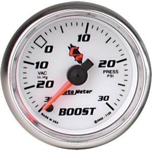 "2-1/16"" Gauges - Auto Meter C2 Series - Autometer - Auto Meter C2 Series, Boost/Vacuum 30""HG/30psi (Full Sweep Electric)"