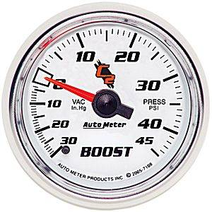 "Autometer - Auto Meter C2 Series, Boost/Vacuum 30""HG/45psi (Mechanical)"