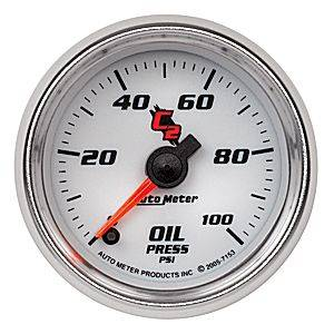 "2-1/16"" Gauges - Auto Meter C2 Series - Autometer - Auto Meter C2 Series, Oil Pressure 0-100psi (Full Sweep Electric)"