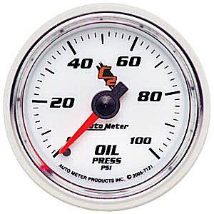 "2-1/16"" Gauges - Auto Meter C2 Series - Autometer - Auto Meter C2 Series, Oil Pressure 0-100psi (Mechanical)"