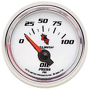 "2-1/16"" Gauges - Auto Meter C2 Series - Autometer - Auto Meter C2 Series, Oil Pressure 0-100psi (Short Sweep Electric)"