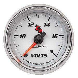 "2-1/16"" Gauges - Auto Meter C2 Series - Autometer - Auto Meter C2 Series, Voltmeter 8-18volts (Full Sweep Electric)"