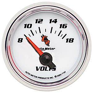 "2-1/16"" Gauges - Auto Meter C2 Series - Autometer - Auto Meter C2 Series, Voltmeter 8-18volts (Short Sweep Electric)"