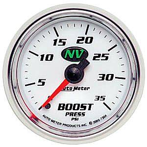 "2-1/16"" Gauges - Auto Meter NV Series - Autometer - Auto Meter NV Series, Boost Pressure 0-35psi (Mechanical)"