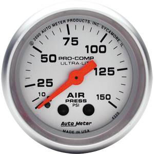 "2-1/16"" Gauges - Auto Meter Ultra Lite Series - Autometer - Auto Meter Ultra Lite Series, Air Pressure 0-150psi (Mechanical)"