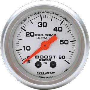 "2-1/16"" Gauges - Auto Meter Ultra Lite Series - Autometer - Auto Meter Ultra Lite Series, Boost Pressure 0-60psi (Mechanical)"