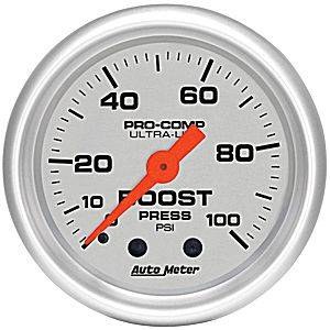 "2-1/16"" Gauges - Auto Meter Ultra Lite Series - Autometer - Auto Meter Ultra Lite Series, Boost Pressure 0-100psi (Mechanical)"