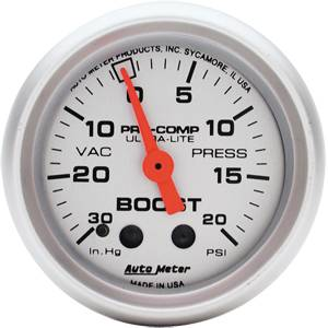 "2-1/16"" Gauges - Auto Meter Ultra Lite Series - Autometer - Auto Meter Ultra Lite Series, Boost/Vacuum 30"" HG/20psi (Mechanical)"