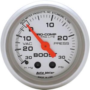 "2-1/16"" Gauges - Auto Meter Ultra Lite Series - Autometer - Auto Meter Ultra Lite Series, Boost/Vacuum 30"" HG/30psi (Mechanical)"