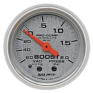 "2-1/16"" Gauges - Auto Meter Ultra Lite Series - Autometer - Auto Meter Ultra Lite Series, Boost/Vacuum 60 cm/HG - 2.0 Bar (Mechanical)"
