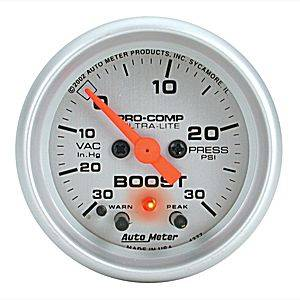 "2-1/16"" Gauges - Auto Meter Ultra Lite Series - Autometer - Auto Meter Ultra Lite Series, Boost/Vacuum 30"" HG/30psi (Full Sweep Electric) w/ Warning"